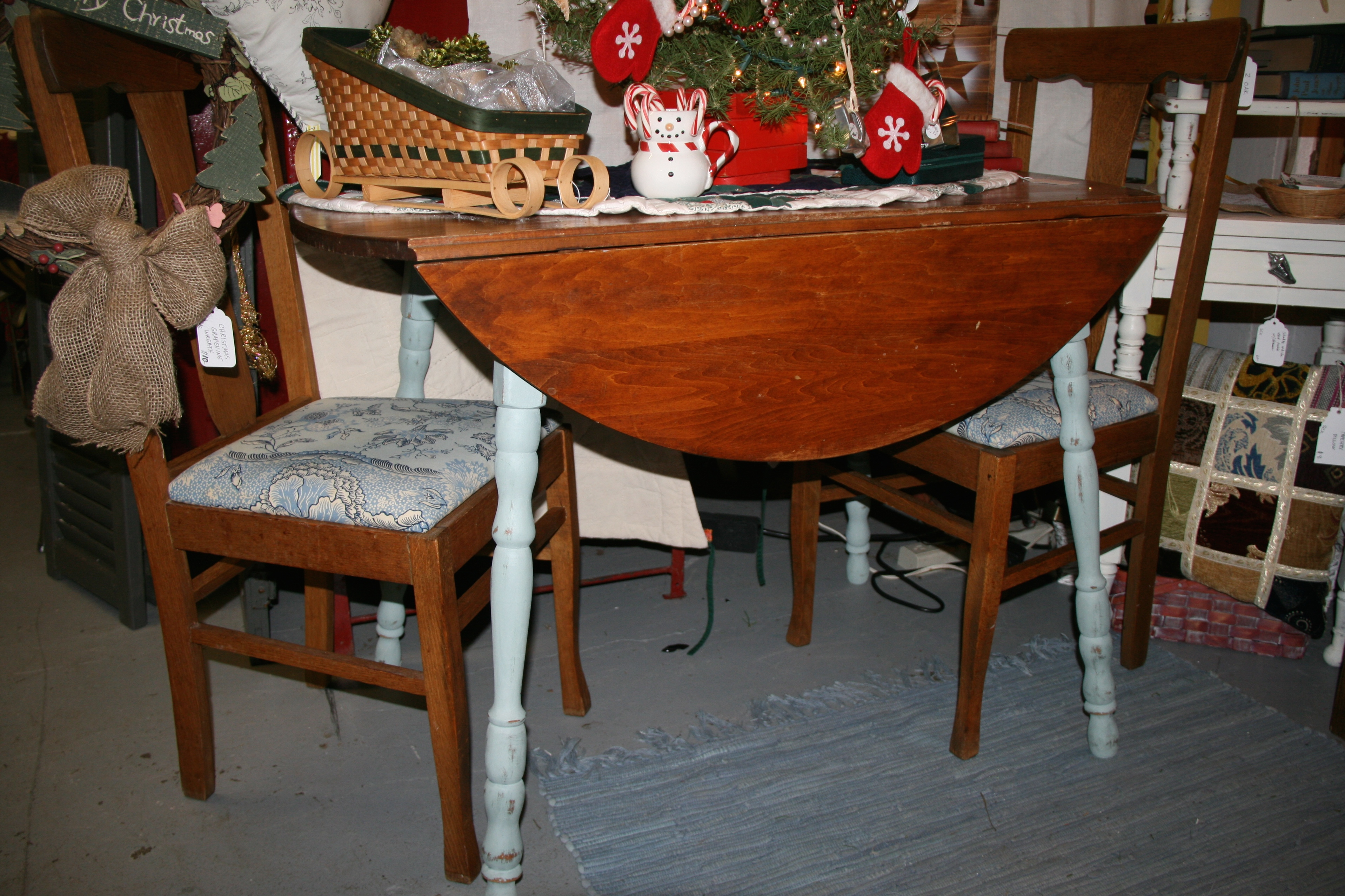 Pine drop leaf table with duck egg chalk paint legs old window with starfish wreath